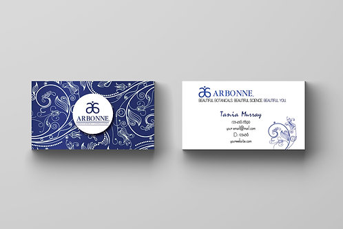 Arbonne blue flower business card