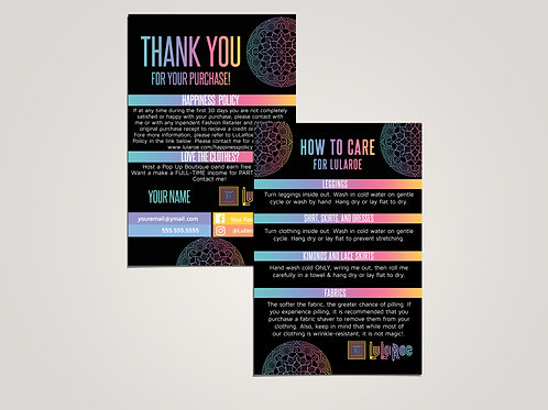 How to care lularoe and thank you card Mandala