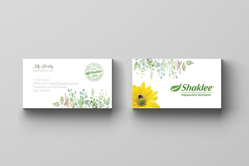 Shaklee business card watercolor greenery
