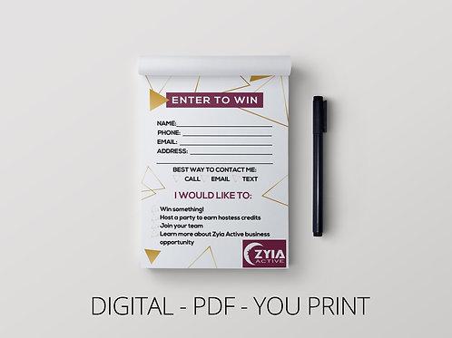 Zyia Customer contact card- enter to win