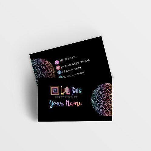 LuLaRoe business card Mandala rainbow black