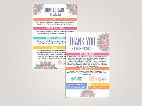 How to care lularoe and thank you card Mandala
