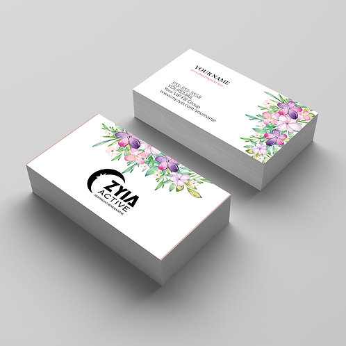 Zyia Active wear Business card watercolor flowers