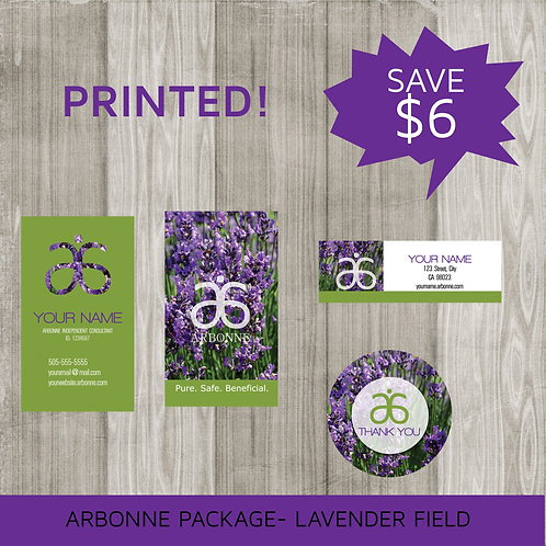 Mini marketing package Arbonne lavender printed