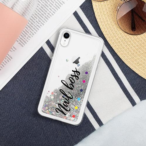 Nail boss Liquid silver glitter Iphone case