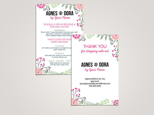 How to care agnes and dora and thank you card floral