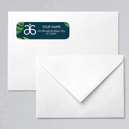 Arbonne return address labels tropical leaves