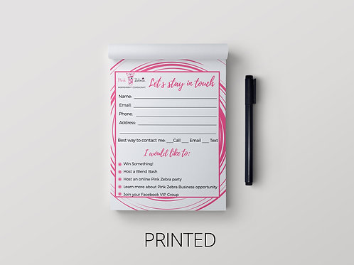 Pink Zebra Notepad- Let's stay in touch
