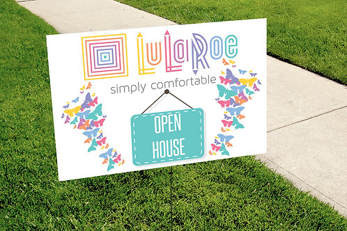 Lularoe Open House rainbow butterflies yard sign