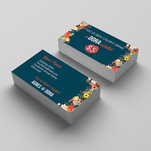 Agnes & Dora business card flowers you've been cought being