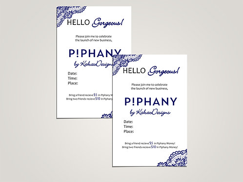 Piphany party invitation digital blue lace