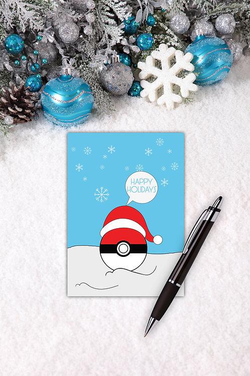 Happy Holidays Pokeball folded card
