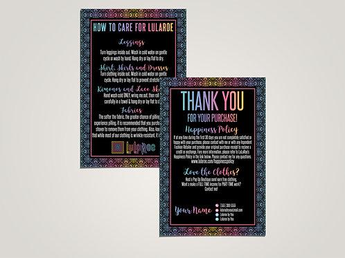 How to care lularoe and thank you card Boho Ethnic