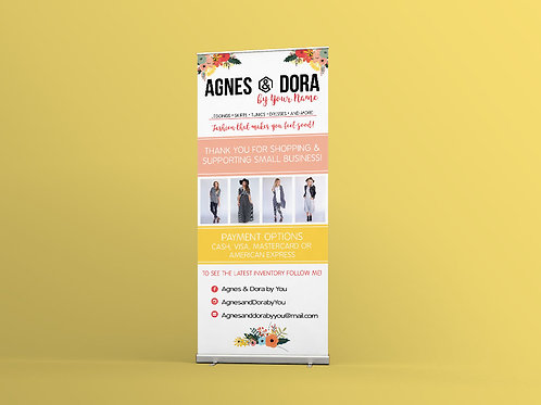 Agnes and Dora roll up banner retractable banner vendor show