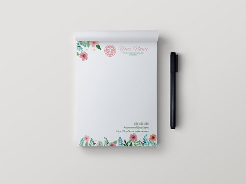 Arbonne Stationary notepad floral watercolor