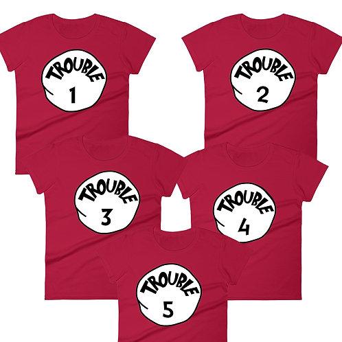 Trouble 1 Trouble 2 Trouble 3 Trouble 4 Trouble 5 matching t-shirts digital download