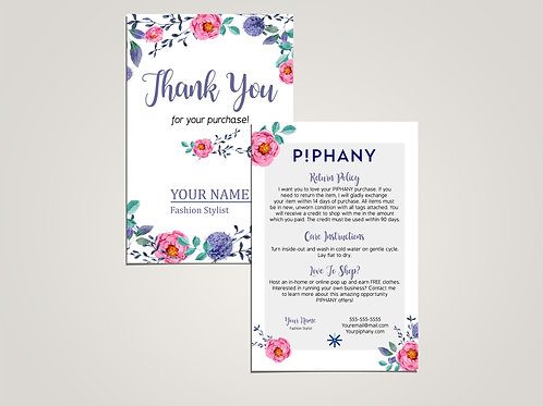 How to care piphany and thank you card watercolor