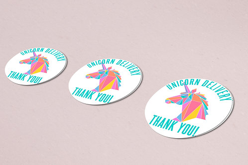 Thank you sticker unicorn rainbow