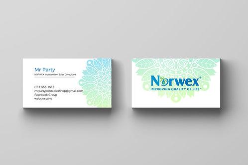 Norwex business card Mandala watercolor
