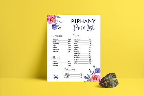 Piphany Price List instant download watercolor