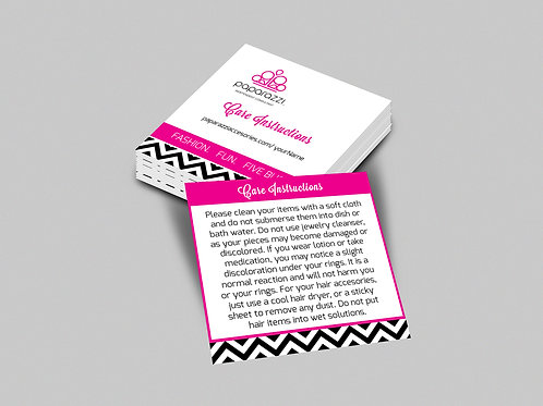 Paparazzi care instructions card