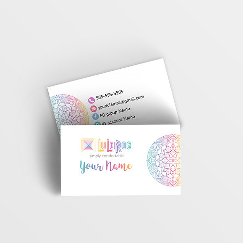 LuLaRoe business card Mandala rainbow white