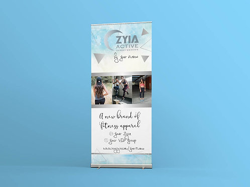 Zyia activewear Rep EVent SHow roll up banner Blue