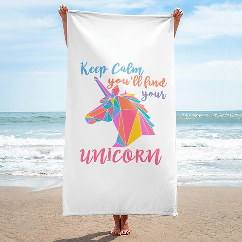 Keep calm you will find your unicorn beach towel