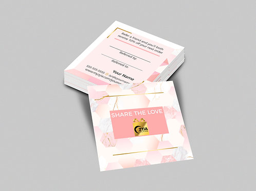 Zyia square business card Pink with referral card