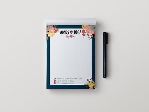 Agnes & Dora stationary notepad floral 2