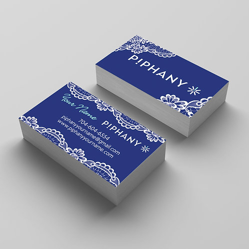 P!PHANY business card Piphany card blue