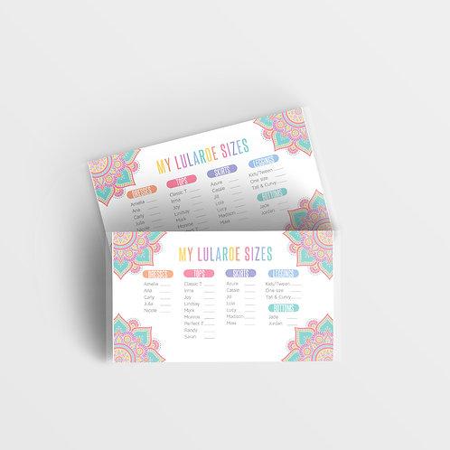 Lularoe size card printable mandala