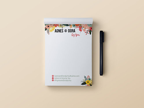 Agnes & Dora stationary notepad floral