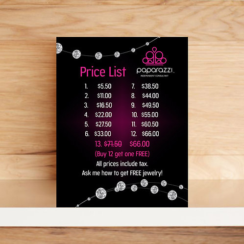 Paparazzi Price list tabletop sign