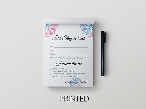 Bellame partner Note pad- Let's stay in touch