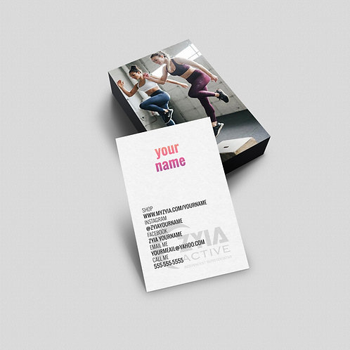 ZYIA active wear Business Card - Leggings- Vertical card D2