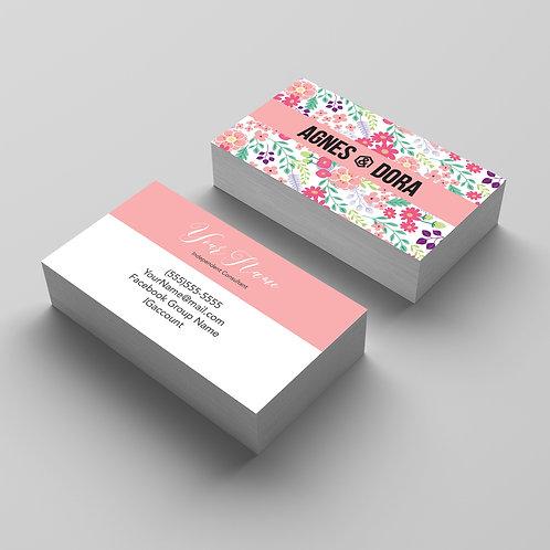 Agnes & Dora business card flower