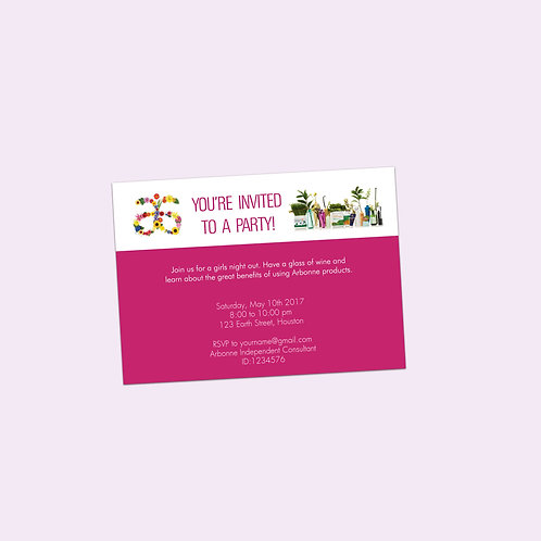 Arbonne party invitation editable flowers