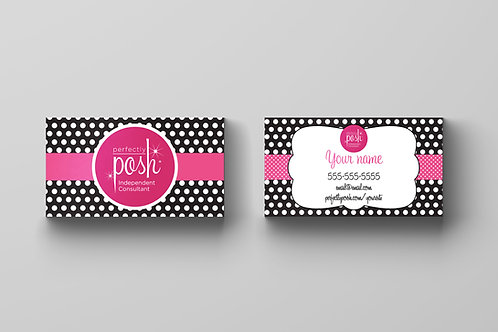 Perfectly Posh business card black polka dots