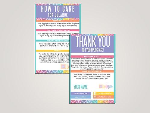How to care lularoe and thank you card herringbone