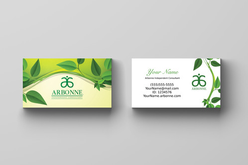 Arbonne Business Card Leaves Kakao Designs Digital and Printed