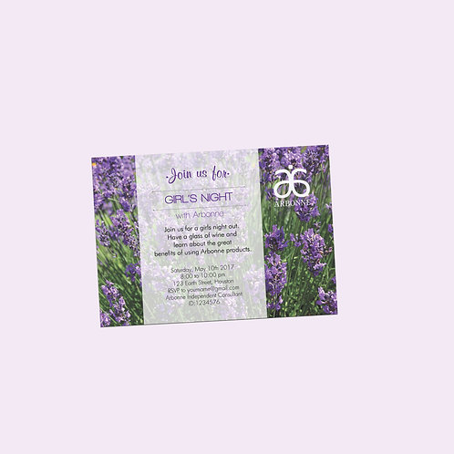 Arbonne party invitation editable lavander