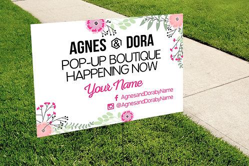 Agnes & Dora Yard Sign - Pop up boutique