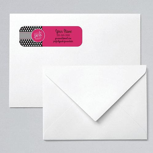 Perfectly Posh return address label black polka dots