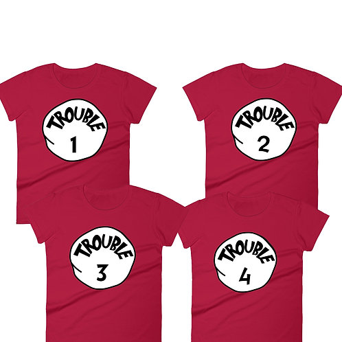 Trouble 1 Trouble 2 Trouble 3 Trouble 4 matching t-shirts digital download