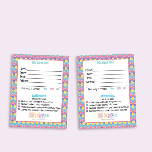 Customer contact card Lularoe honeycomb