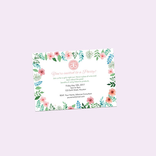 Arbonne party invitation editable watercolor