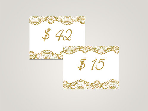 Honey & Lace Price Cards, Golden Lace