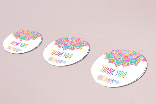 Thank you sticker Mandala rainbow