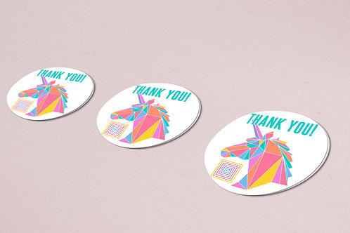 Thank you sticker unicorn rainbow